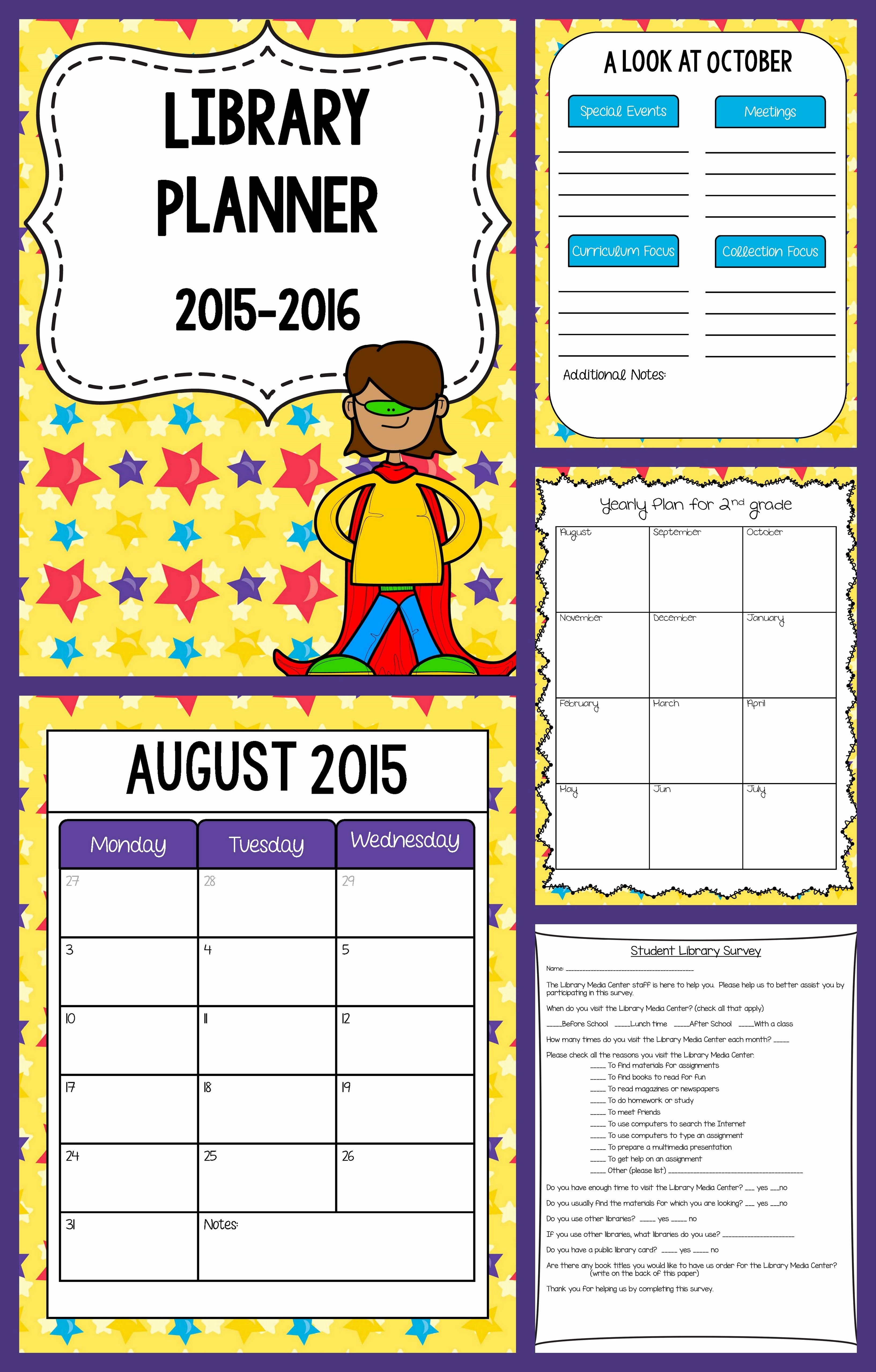 Library Lesson Plan Template Lovely School Library Planner Superhero theme