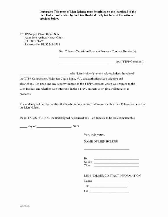 Lien Release Letter Template Awesome Lien Release Letter Template Templates Resume Examples