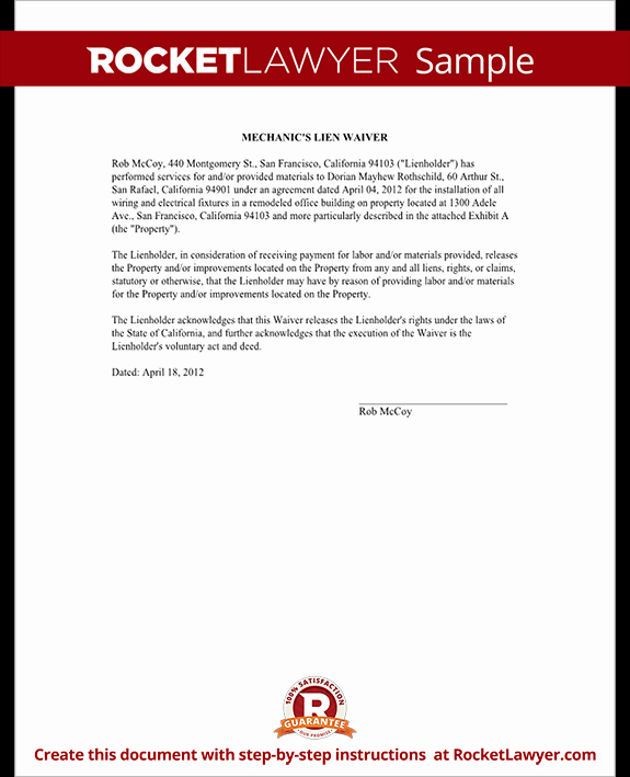Lien Release Letter Template Beautiful Mechanics Lien Release Lien Waiver form