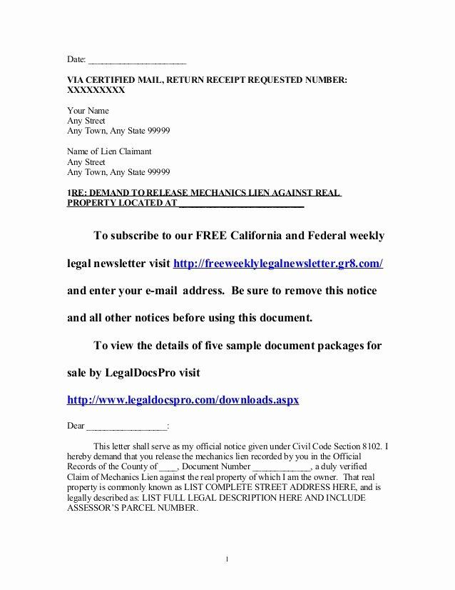 Lien Release Letter Template Beautiful Sample California Mechanics Lien Release Demand Letter