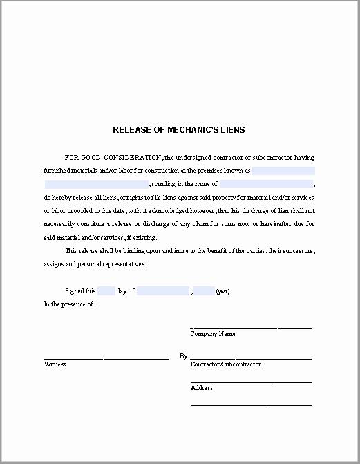 Lien Release Letter Template Elegant Release Of Mechanic's Liens Certificate Template