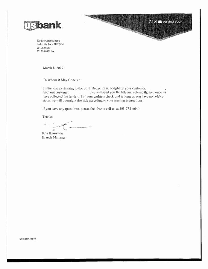 Lien Release Letter Template Fresh Title and Lien Release Picture Gallery Download Cv