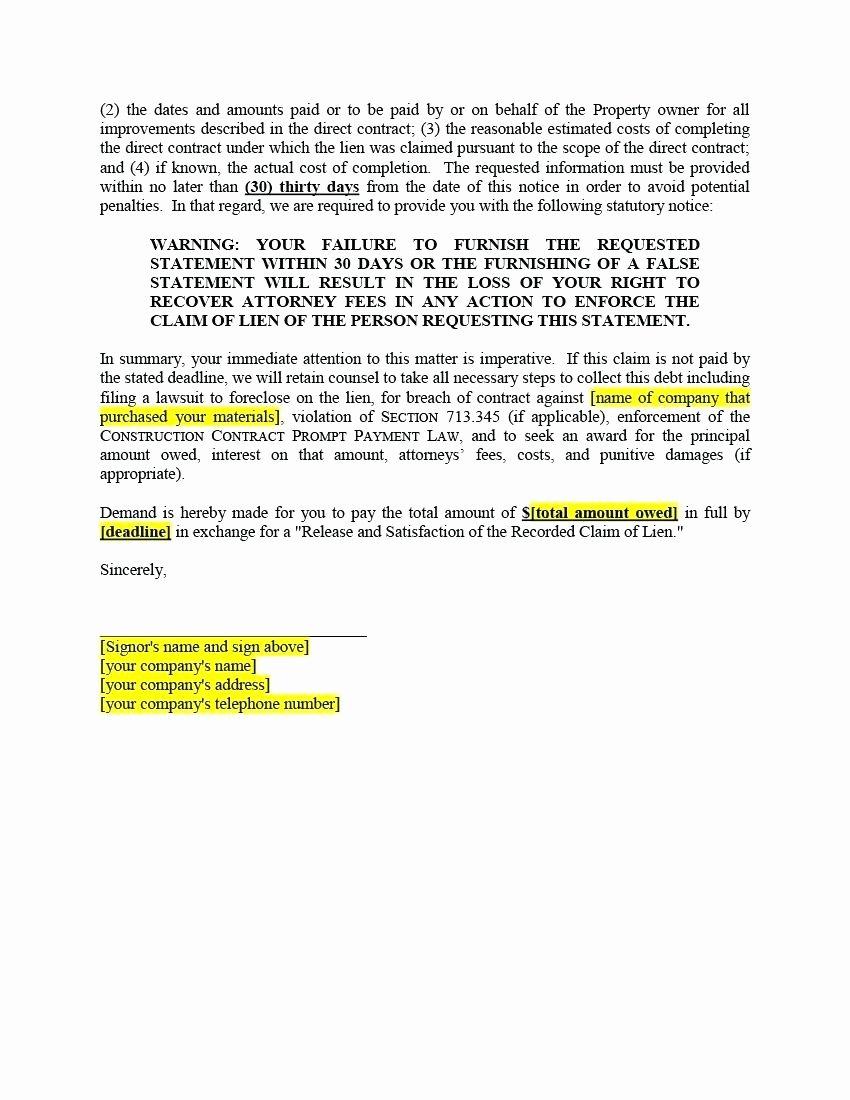 Lien Release Letter Template New Notice Lien Letter Template Samples