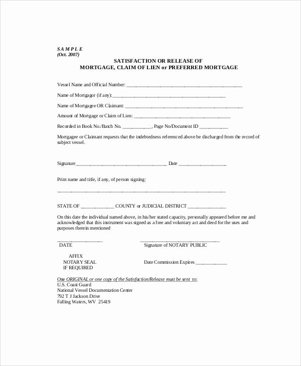 Lien Release Letter Template Unique 7 Sample Mortgage Release forms