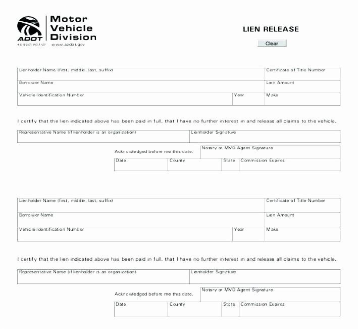 Lien Waiver form Template Awesome Lien Release Template Free forms Waiver form Download