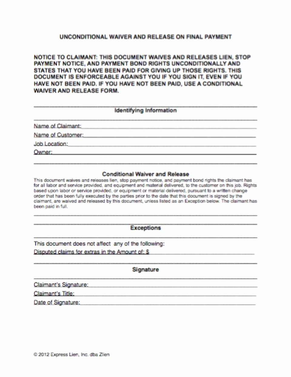 Lien Waiver form Template Awesome What Do You Need to Know About Construction Lien Waivers