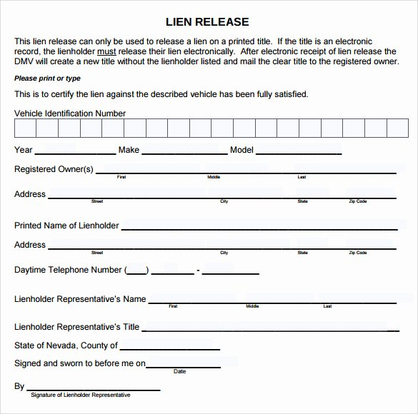 Lien Waiver form Template Beautiful 9 Lien Release forms to Download