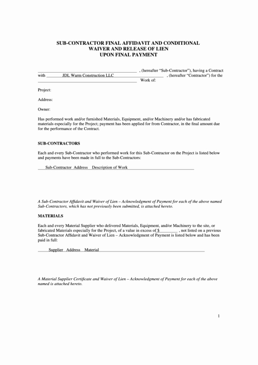 sub contractor final affidavit form and conditional waiver and release of lien upon final payment sample