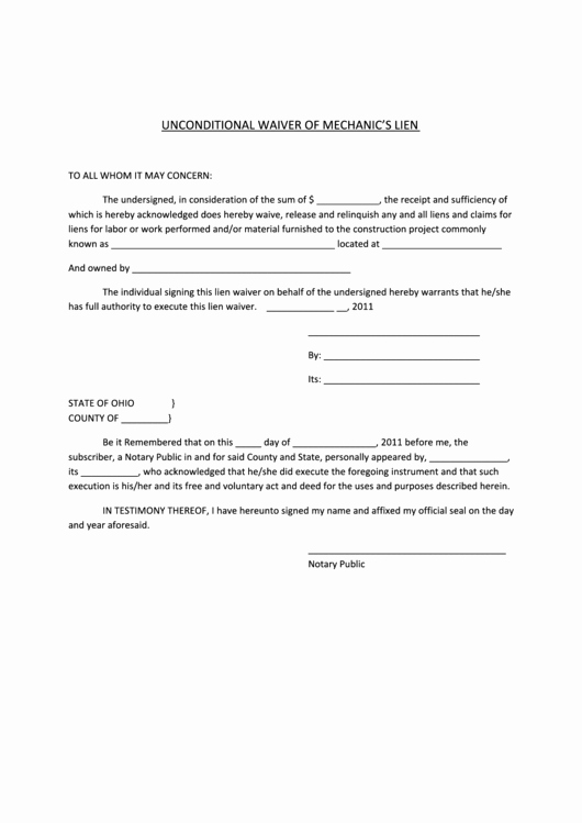 Lien Waiver form Template Beautiful Unconditional Waiver Mechanics Lien form Printable Pdf