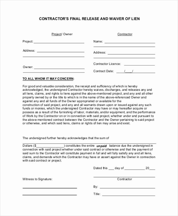 Lien Waiver form Template Fresh 21 Print Release form Examples