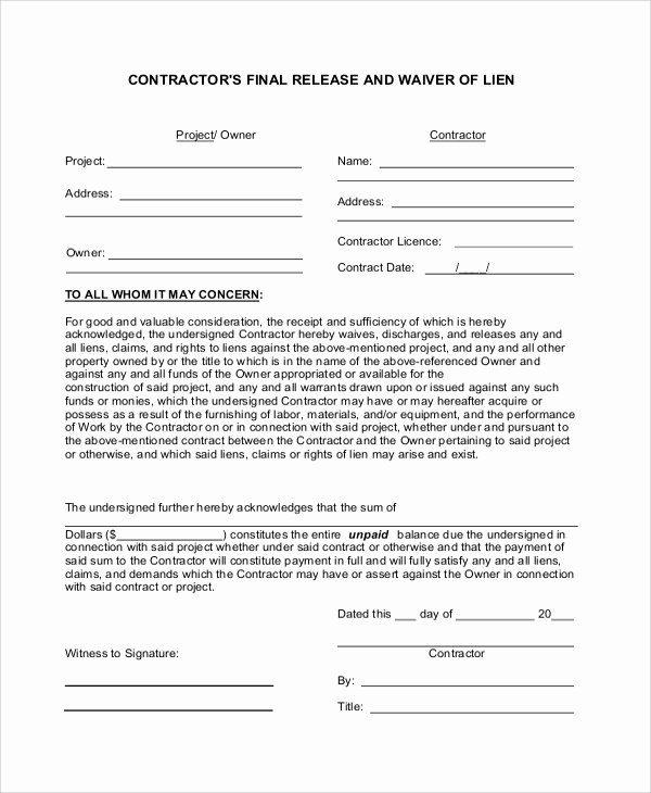 Lien Waiver form Template Fresh 8 Lien Waiver forms