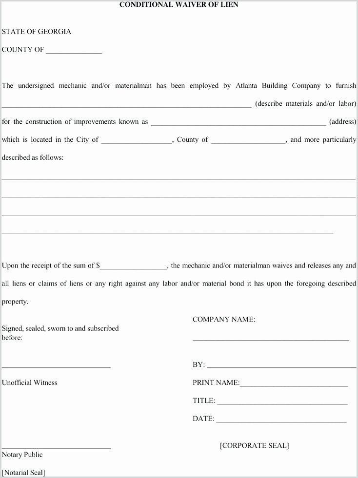 Lien Waiver form Template Fresh Lien Release form Unconditional Waiver Template Arizona