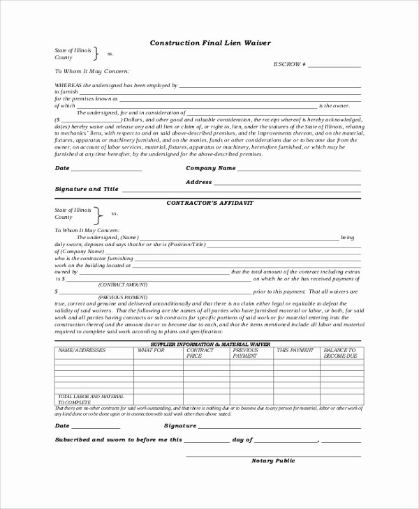 Lien Waiver form Template Inspirational 8 Lien Waiver forms