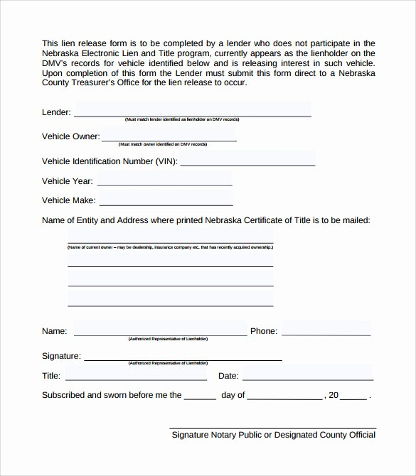 Lien Waiver form Template Lovely 9 Lien Release forms to Download