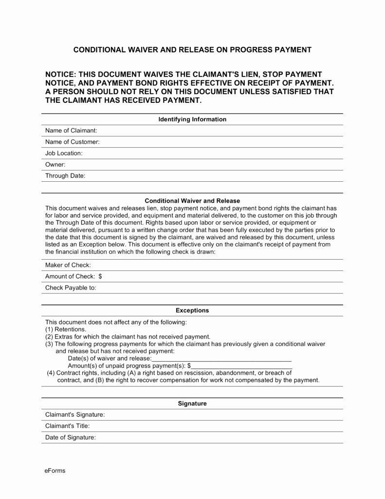 Lien Waiver form Template Lovely Conditional Waiver Lien Template Templates Resume