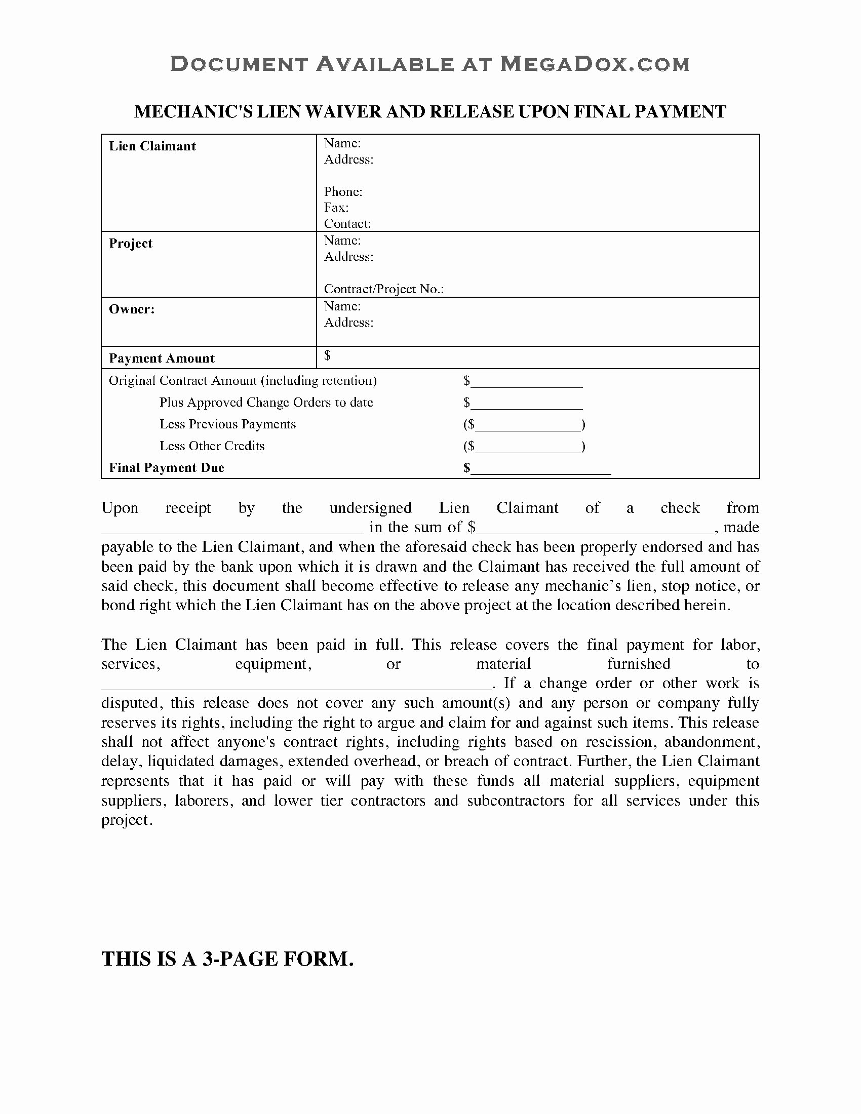 Lien Waiver form Template Lovely Oklahoma Mechanic S Lien Waiver and Release On Final