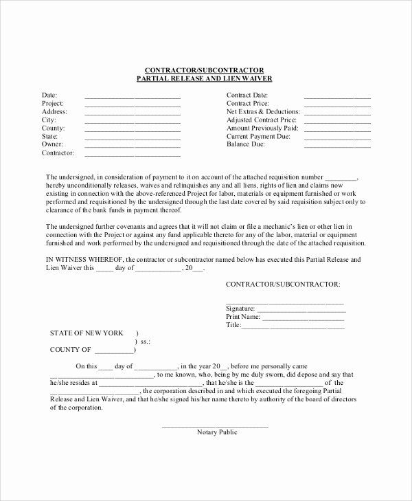 Lien Waiver form Template Luxury 8 Lien Waiver forms