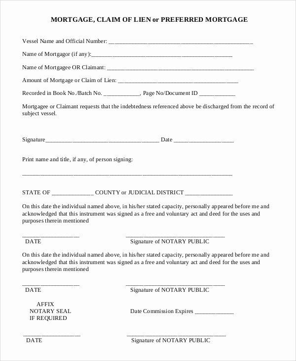 Lien Waiver form Template Luxury 9 Sample Lien Release forms