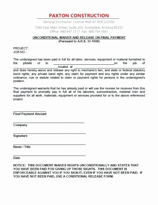 Lien Waiver form Template Luxury Unconditional Lien Waiver Template – Eleads