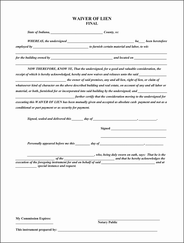 Lien Waiver form Template New 5 Final Lien Release Templates Word Excel Templates