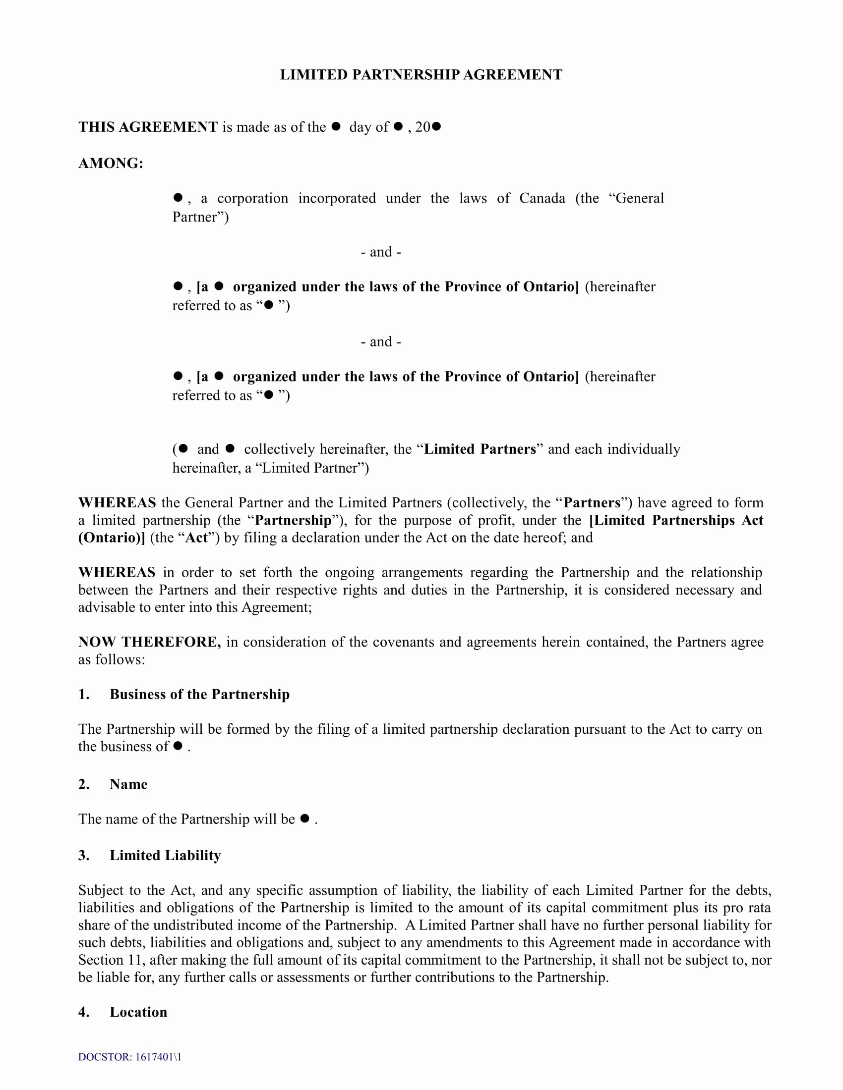 Limited Partnership Agreement Template Awesome 4 Limited Partnership Agreement forms Word Pdf