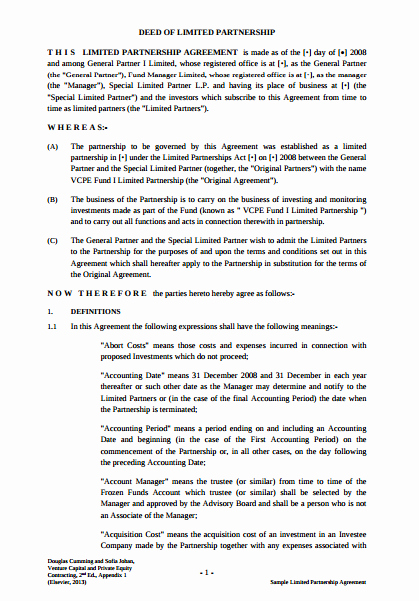 Limited Partnership Agreement Template Awesome 9 Limited Partnership Agreement Templates Pdf