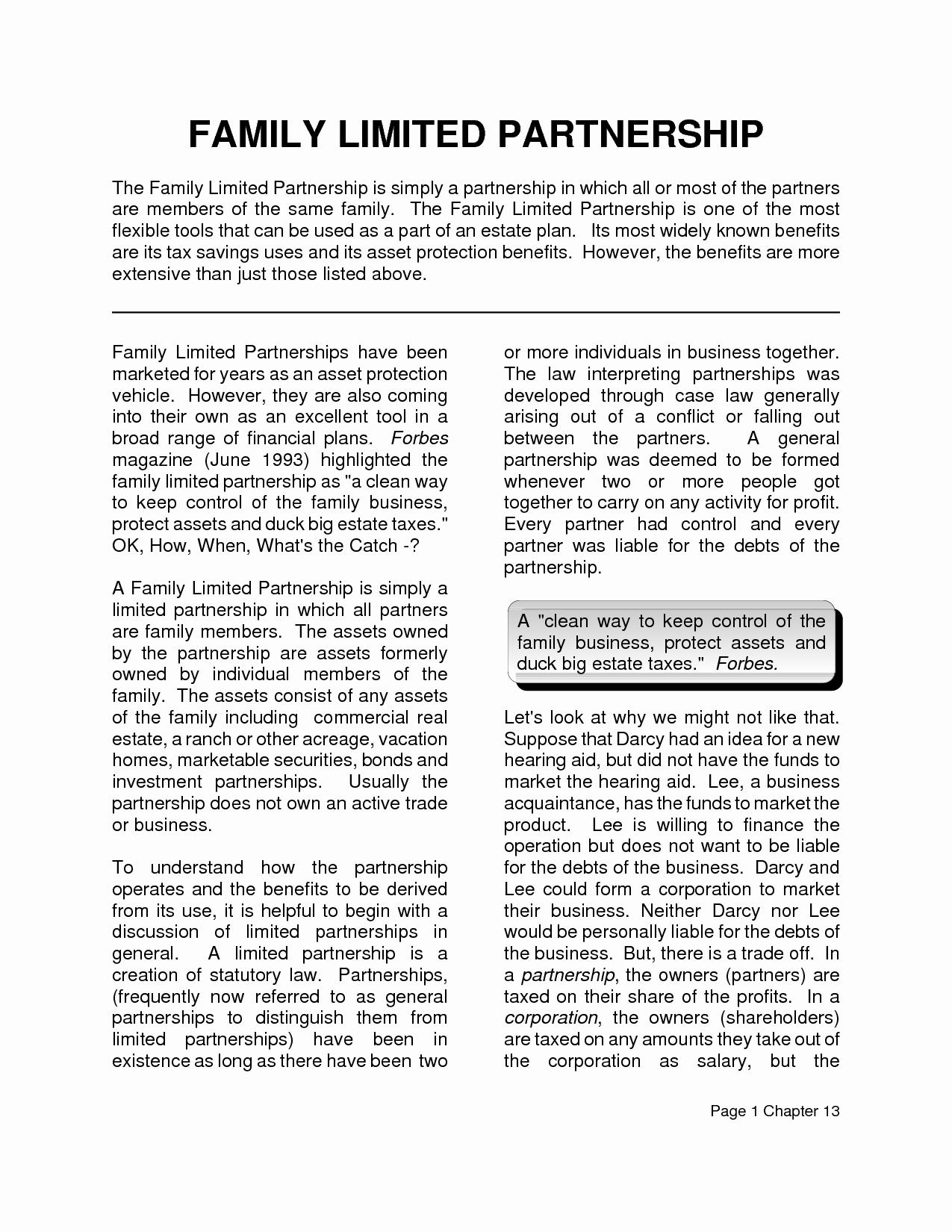 Limited Partnership Agreement Template Elegant 10 Best Of Family Partnership Agreement Templates