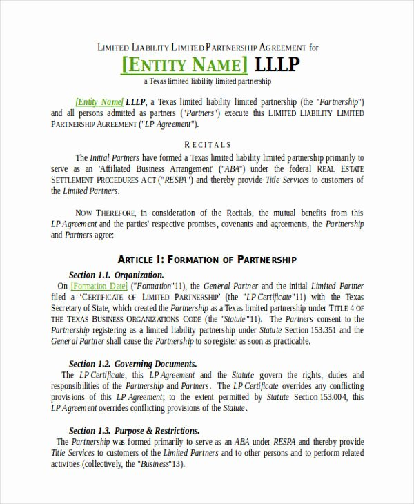 Limited Partnership Agreement Template Elegant 49 Examples Of Partnership Agreements