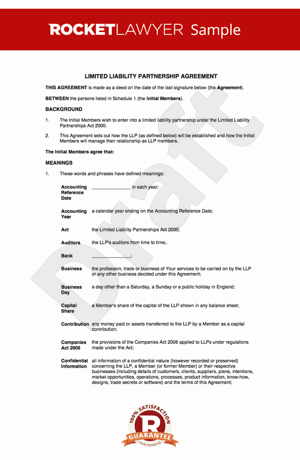Limited Partnership Agreement Template Lovely Llp Agreement Create A Limited Liability Partnership