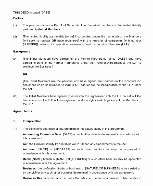 Limited Partnership Agreement Template Lovely Partnership Agreement 11 Free Word Pdf Documents