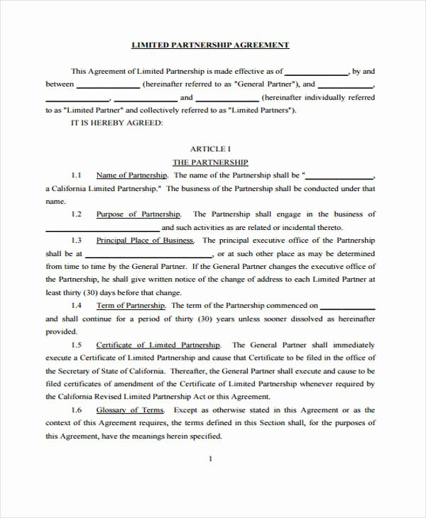 Limited Partnership Agreement Template New 39 Agreement Templates In Pdf