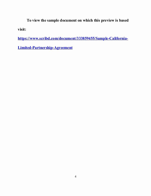 Limited Partnership Agreement Template New Sample California Limited Partnership Agreement