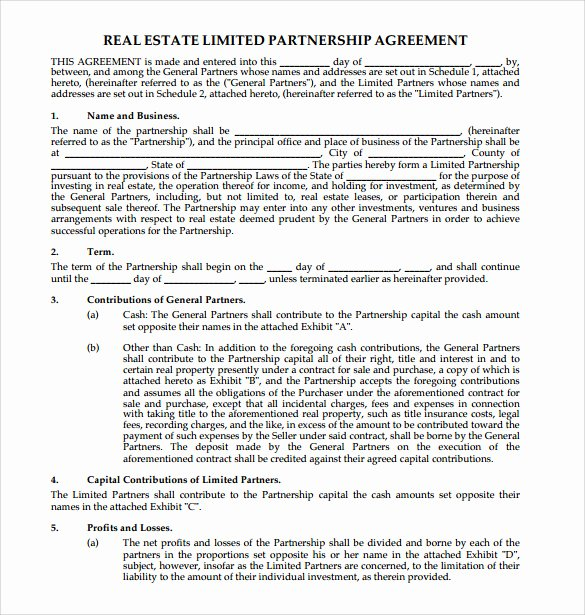Limited Partnership Agreement Template New Sample Real Estate Partnership Agreement 10 Free