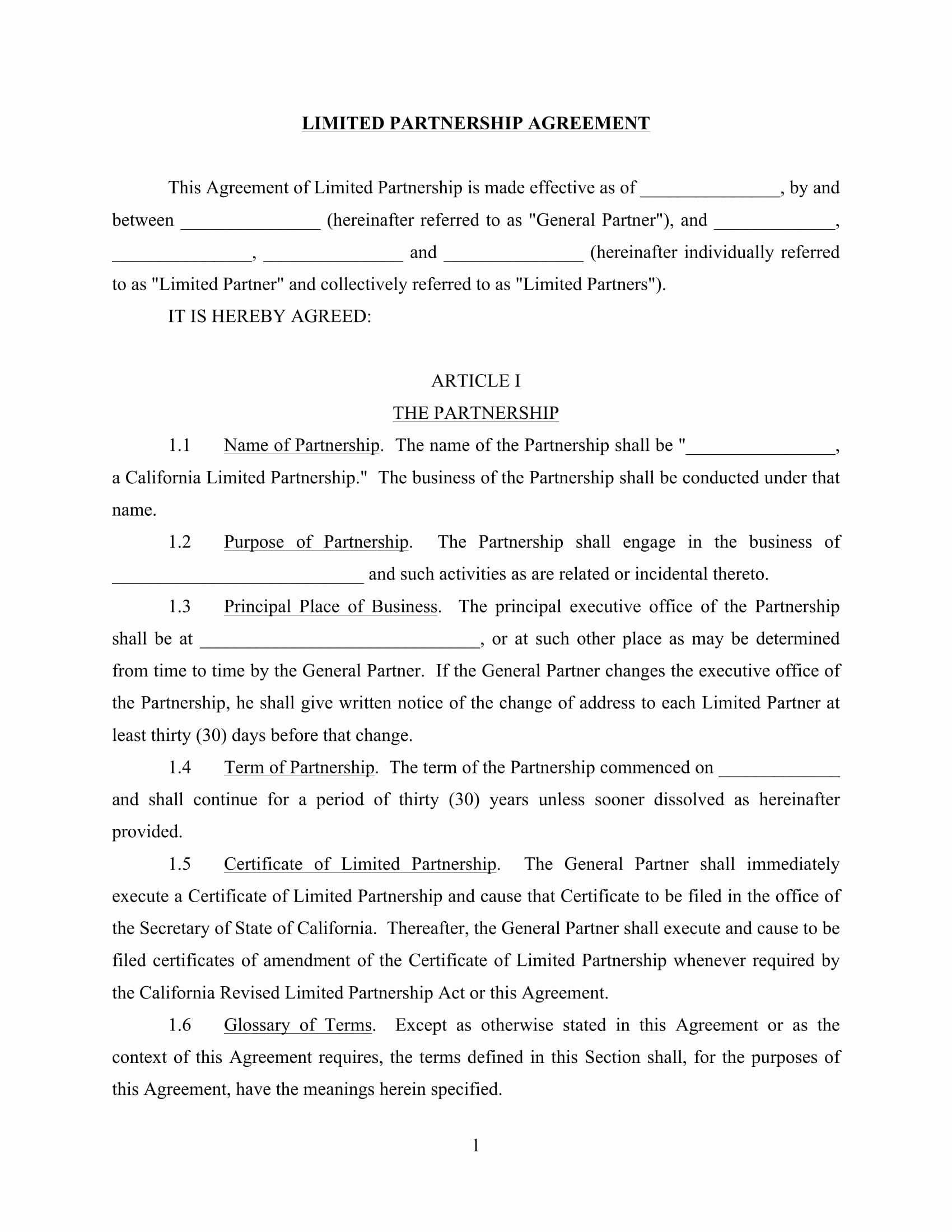 Limited Partnership Agreement Template Unique 4 Limited Partnership Agreement forms Word Pdf