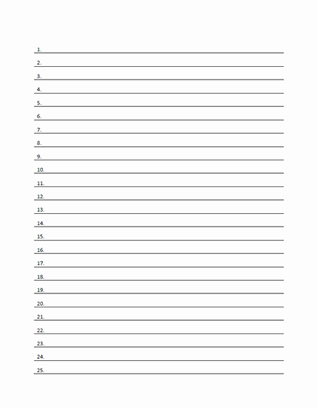 Lined Paper Template Pdf Awesome Numbered Lined Paper Template Printable Pdf form