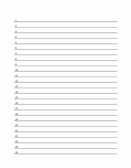 Lined Paper Template Pdf Unique Blank Numbered List Template