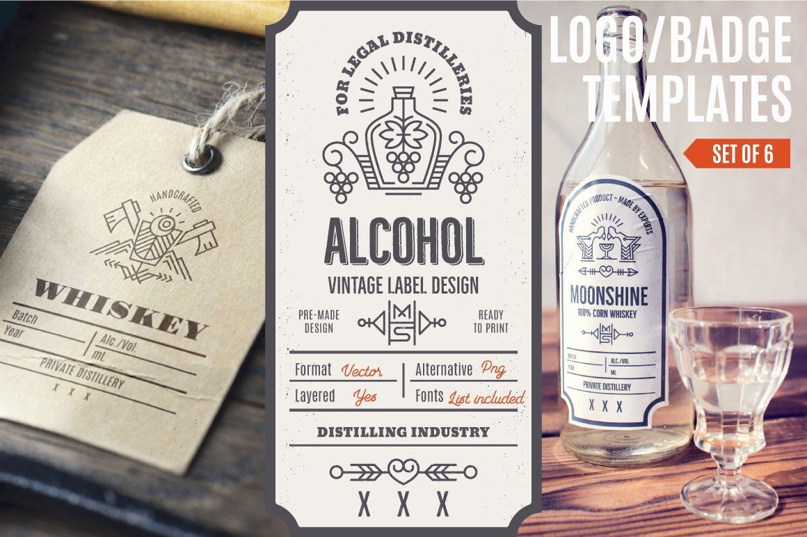 Liquor Bottle Labels Template Lovely Distilling Industry Vintage Labels Logo Templates