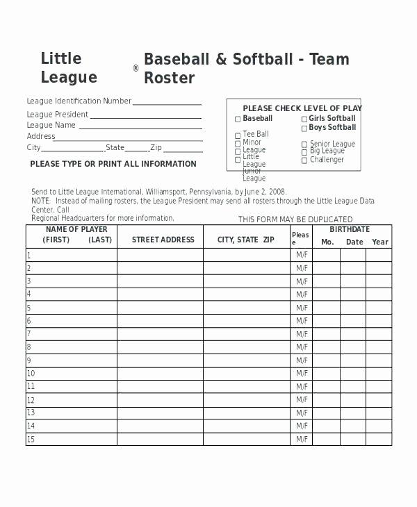 Little League Lineup Template Awesome X Batting Line Up form Baseball Printable softball Lineup