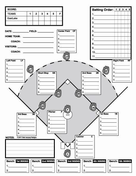 Little League Lineup Template Inspirational Baseball Line Up Custom Designed for 11 Players Useful