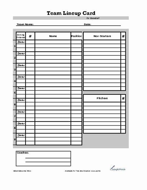 Little League Lineup Template Lovely Baseball Lineup Card