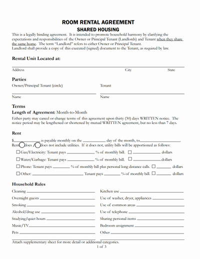 Living Agreement Contract Template Awesome Room Rental Agreement Template Free Download Create
