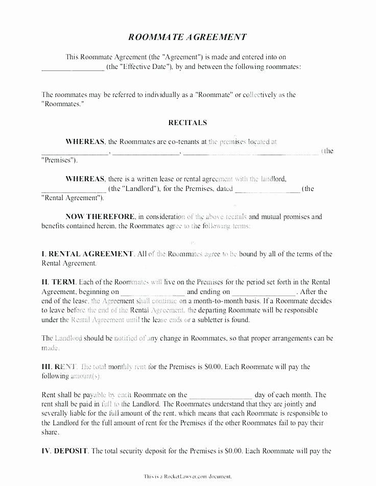 Living Agreement Contract Template Elegant Living Agreement Contract Template Free Roommate Contract