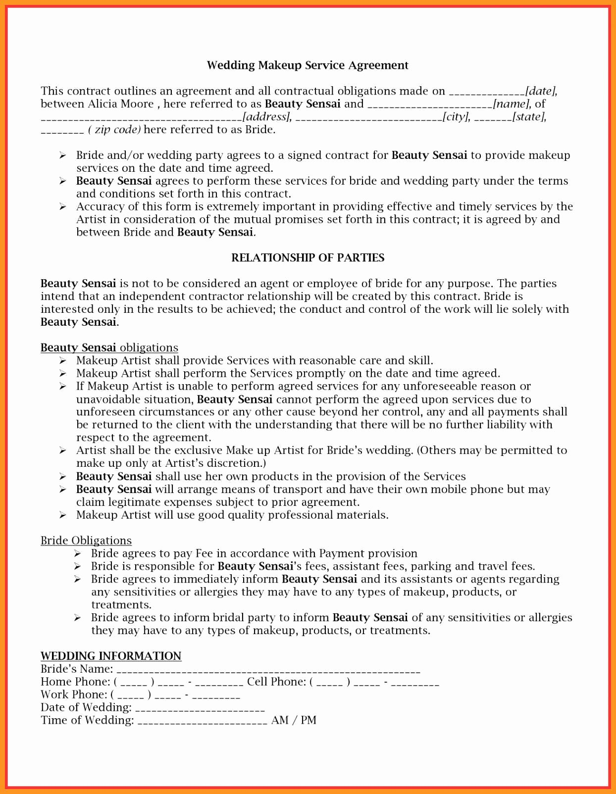 Living Agreement Contract Template Lovely 4 5 Living Agreement Contract Template