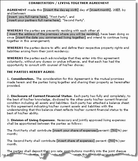 Living Agreement Contract Template Luxury Cohabitation Agreement