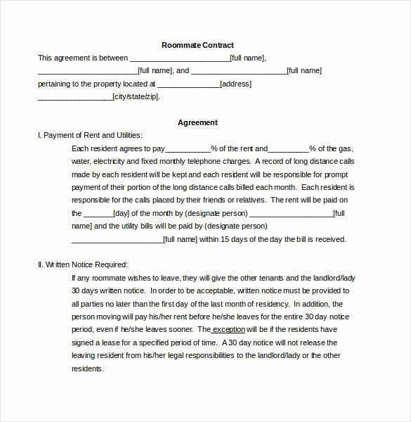 Living Agreement Contract Template Luxury Roommate Agreement Template – 12 Free Word Pdf Document
