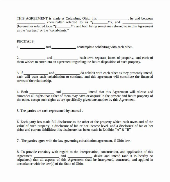 Living Agreement Contract Template New Living to Her Agreement