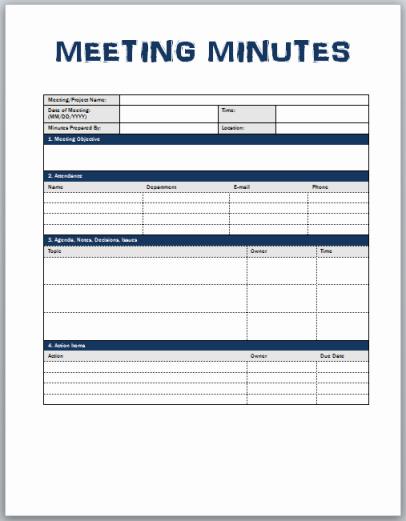 Llc Meeting Minutes Template Inspirational Minutes Meeting Template