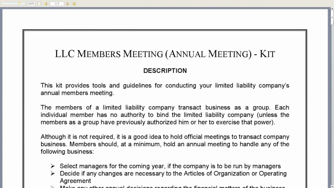 Llc Meeting Minutes Template New 5 Business Meeting Minutes format