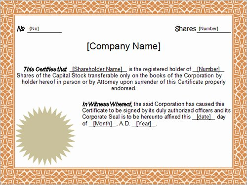 Llc Member Certificate Template Elegant 14 Sample Certificates
