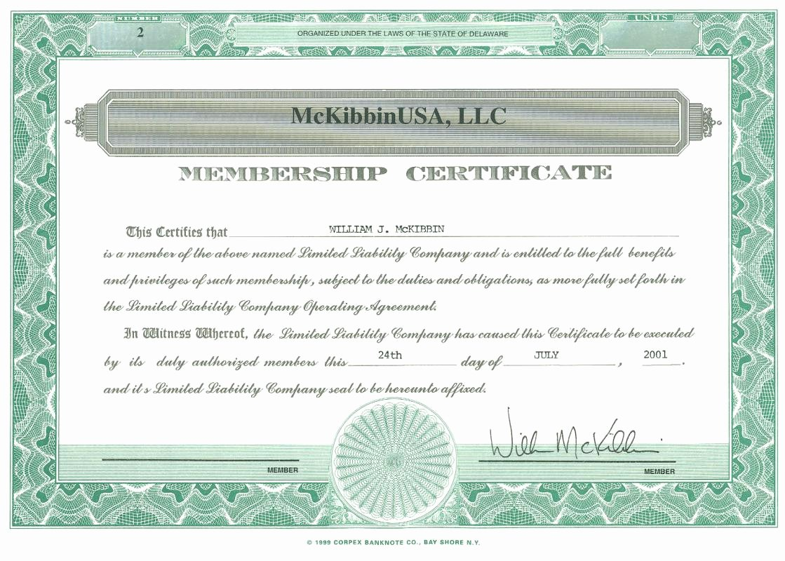 Llc Member Certificate Template Luxury Membership Certificate Llc Example